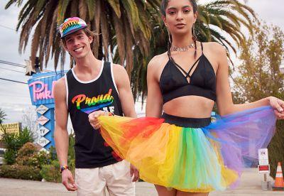 Proud AF rainbow LGBTQ pride tank top and rainbow tutu