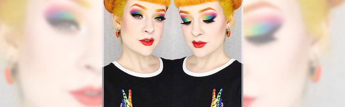 miss k michael instagram fashion influencer rainbow makeup shirt